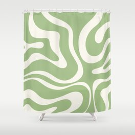 Modern Liquid Swirl Abstract Pattern in Light Sage Green and Cream Shower Curtain
