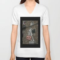 david fleck V-neck T-shirts featuring david by Francesco Mestria