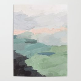Seafoam Green Mint Black Blush Pink Abstract Nature Land Art Painting Poster