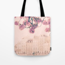 Paris cherry blossoms and facades bokeh Tote Bag
