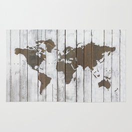 Rustic World Map Art on Upcycled Palette Wood Rug