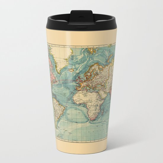 Adventure Awaits (World Map) Metal Travel Mug