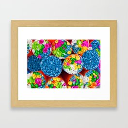 Bouquets of tiny colorful flowers Framed Art Print