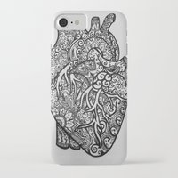 anatomical heart iPhone & iPod Cases featuring Anatomical Heart Zentangle by isabellat
