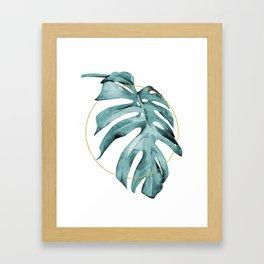 MONSTERA LEAF GEOMETRIC Framed Art Print