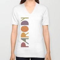 lichtenstein V-neck T-shirts featuring Wanna-Be Roy Lichtenstein Letterform by Heidi Clifford