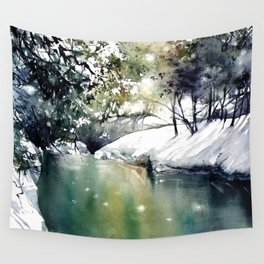Running water down below in the dark, frozen forest Wall Tapestry