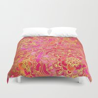 baroque Duvet Covers featuring Hot Pink and Gold Baroque Floral Pattern by micklyn