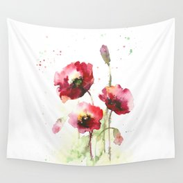 Watercolor flowers of poppy Wall Tapestry