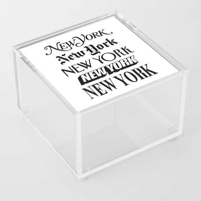I Heart New York City Black and White New York Poster I Love NYC Design black-white home wall decor Acrylic Box