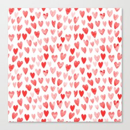 Watercolor heart pattern perfect gift to say i love you on valentines day Canvas Print