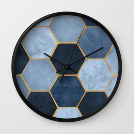 Winter Palace / blue and gold geometric design Wall Clock