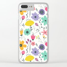 Colorful orange purple modern abstract floral illustration Clear iPhone Case