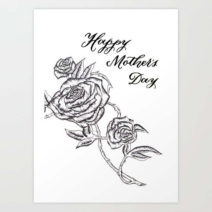 picture about Happy Mothers Day Printable Card identified as Content Moms Working day Card Artwork Print via theinkstainedminstrel