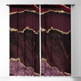 Burgundy & Gold Agate Texture 02 Blackout Curtain