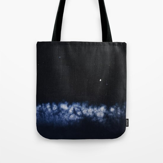 Contrail moon on a night sky Tote Bag