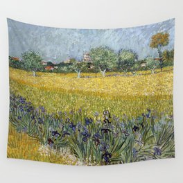 Field with flowers near Arles by Vincent van Gogh Wall Tapestry