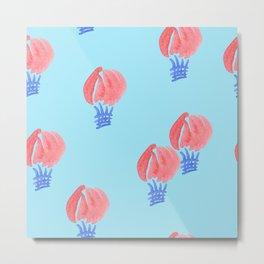 Air Balloon Pattern on Light Blue Metal Print