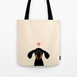 Dachshund Love | Longhaired Black and Tan Wiener Dog Tote Bag