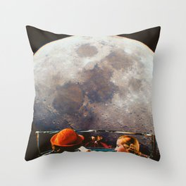Road trip to the moon Throw Pillow