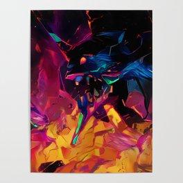 Neon Berserk Mecha Poster
