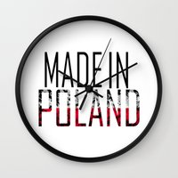 poland Wall Clocks featuring Made In Poland by VirgoSpice