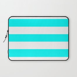 Electric cyan - solid color - white stripes pattern Laptop Sleeve