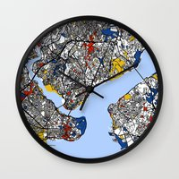 istanbul Wall Clocks featuring Istanbul by Mondrian Maps