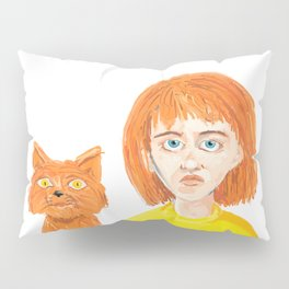 Girl and her cat Pillow Sham