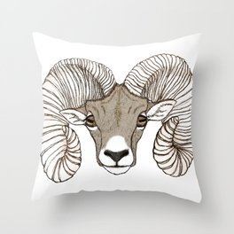 Ram Head in Color Throw Pillow