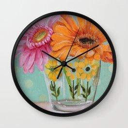 Gerber Daisy Retro Glass Painting Wall Clock