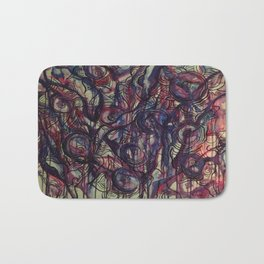 Watercolor Abstract Purple Flower Painting Bath Mat