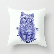 Staring cat Throw Pillow