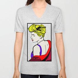 Robyn - Roy Lichtenstein Inspired Portrait 2 Unisex V-Neck