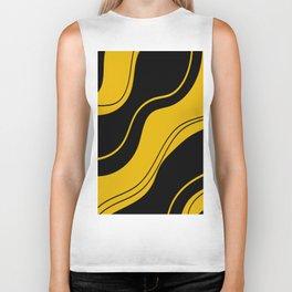 Uplifting abstract yellow black wavy lines Biker Tank