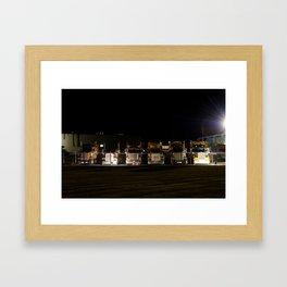 Trucks in a row Framed Art Print