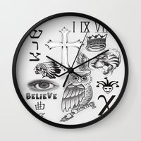 tattoos Wall Clocks featuring Justin tattoos by The Bieber Shop!