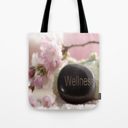 Bathroom Decoration with almond blossoms Tote Bag