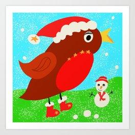 Christine the Christmas robin Art Print