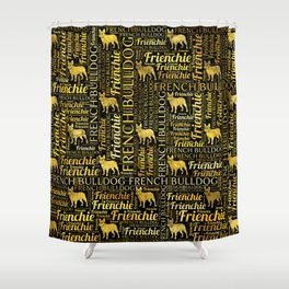 French Bulldog silhouette and word art pattern Shower Curtain