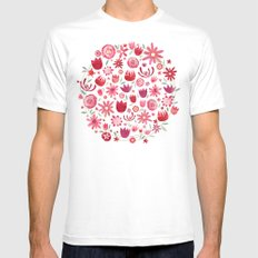 Summer Flowers White MEDIUM Mens Fitted Tee