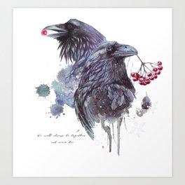 Ravens in the winter Art Print