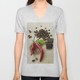 Rustic coffee beans kitchen image Unisex V-Neck