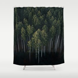 Aerial Photograph of a pine forest in Germany - Landscape Photography Shower Curtain