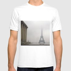 Eiffel Tower in Rain and Fog MEDIUM White Mens Fitted Tee