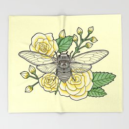 Cicada with Roses - Yellow Throw Blanket