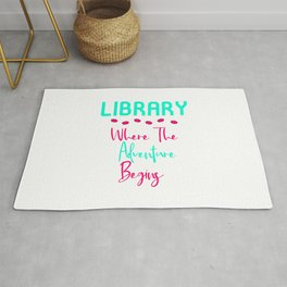 Library Where The Adventure Begins Fun Quote Rug