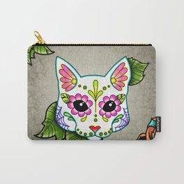 White Cat - Day of the Dead Sugar Skull Kitty Carry-All Pouch
