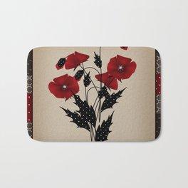 Flowers Art Poppies. Patchwork Bath Mat
