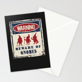 Gnomes Warning Beware Stationery Cards